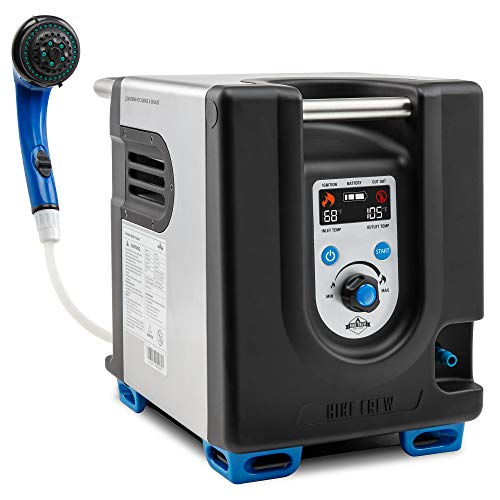 Hike Crew Portable Propane Water Heater & Shower Pump w/Built-in Battery | Compact Outdoor Cleaning & Showering System w/LCD, Safety Shutoff & Carry Case, Instant Hot Water for Camping & Hiking