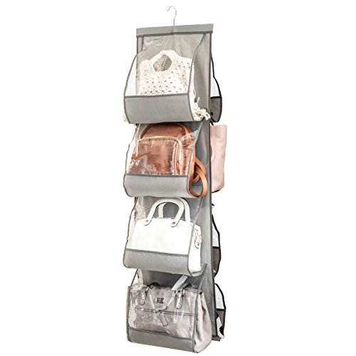 """Zober Hanging Purse Organizer For Closet Clear Handbag Organizer For Purses, Handbags Etc. 8 Easy Access Clear Vinyl Pockets With 360 Degree Swivel Hook, Gray, 48"""" L x 13.8"""" W"""