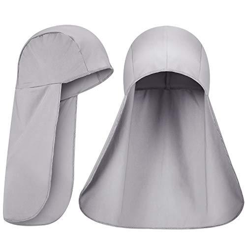 2 Packs Cooling Skull Cap Elastic Sun Shade Hat Neck Shield (Grey)