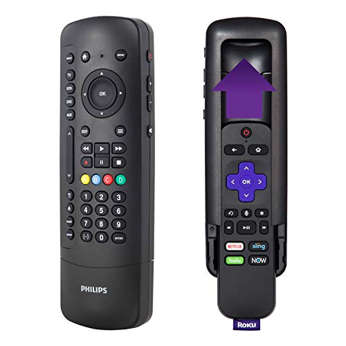 Philips Universal Companion Remote Control for Samsung, Vizio, LG, Sony, Roku, Apple TV, TCL, Panasonic, Smart TVs, Streaming Players, Blu-ray, DVD, 4 Device, Flip & Slide Roku, Black, SRP2024R/27