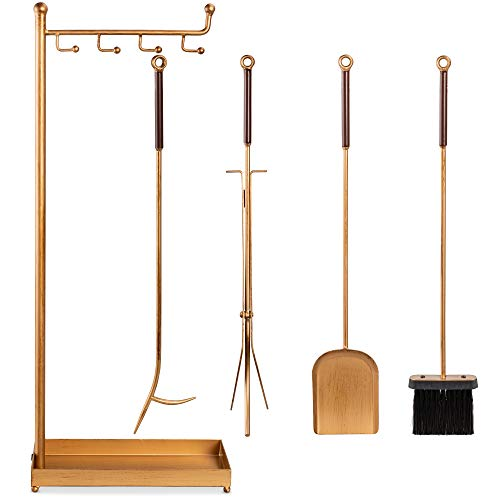 Best Choice Products 5-Piece Modern Contemporary Fireplace Tool Set for Indoor Fireplace Décor, Outdoor Fire Pit w/Poker, Tongs, Dust Pan Shovel, Brush, Ergonomic Handles - Antique Gold
