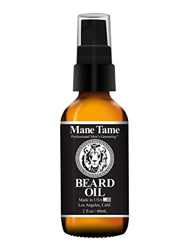 Mane Tame Beard Oil - Freshly Showered Scent Women Love - No Fuss Pump 2oz Bottle - Organic Oils Softens Your Beard and Stops Itching - Great Beard Oil and Conditioner For Men
