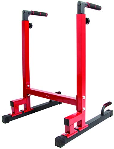 BalanceFrom Multi-Function Dip Stand Dip Station Dip bar with Improved Structure Design, 500-Pound Capacity (Red), Model:BFDB-1YLParent