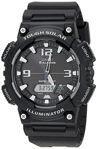 Casio Men's Tough (Solar Powered) Japanese-Quartz Watch with Resin Strap, Black, 28 (Model: AQ-S810W-1AVCF)