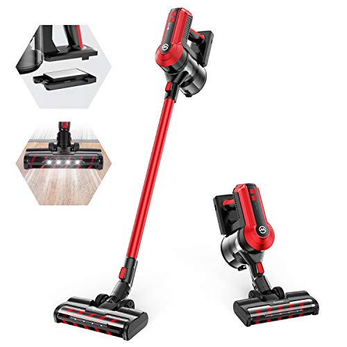 MOOSOO Cordless Vacuum Cleaner, 300W Powerful Stick Vacuum, 5 Stages Filtration System, 35 mins Runtime, 4-in-1 Vacuum Cleaner for Hard Floor Carpet Pet Car