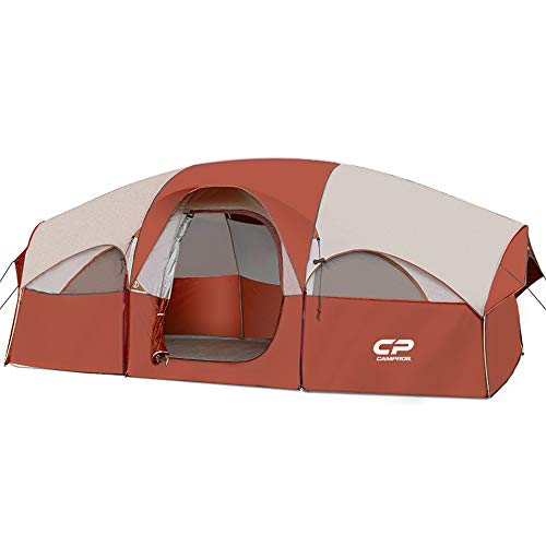 CAMPROS Tent-8-Person-Camping-Tents, Waterproof Windproof Family Tent, 5 Large Mesh Windows, Double Layer, Divided Curtain for Separated Room, Portable with Carry Bag, for All Seasons - Red