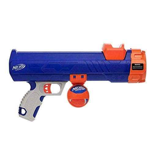 Nerf Dog Tennis Ball Blaster Dog Toy Blue/Orange, 16 Inch Compact Blaster with 1 Ball