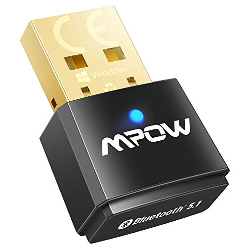 Mpow Bluetooth Adapter for PC, USB Bluetooth 5.1 Dongle Support Windows 10/8.1/7, Linux for Desktop, Laptop, Mouse, Keyboard, Printers, Headsets, Speakers