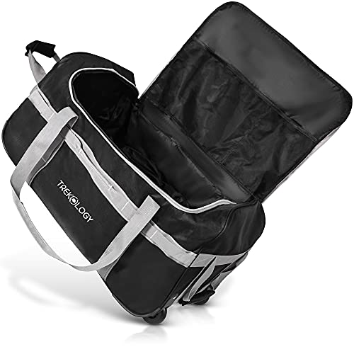 Rolling Duffle Bag with Wheels, 85L Large Duffel Luggage Bags for Travel, Black Wheeled Duffel Bag Luggage, Carry on Rolling Duffel Bags for Traveling, Foldable Collapsible Duffle Bag with Rollers
