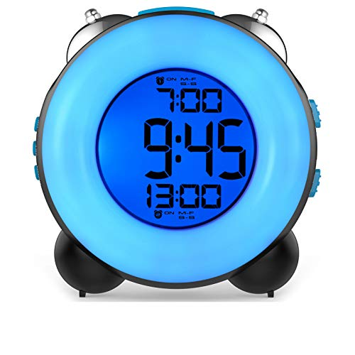 Banne Loud Alarm Clock for Heavy Sleepers with Dual Alarm Night Light Bedside Battery Powered (Black)