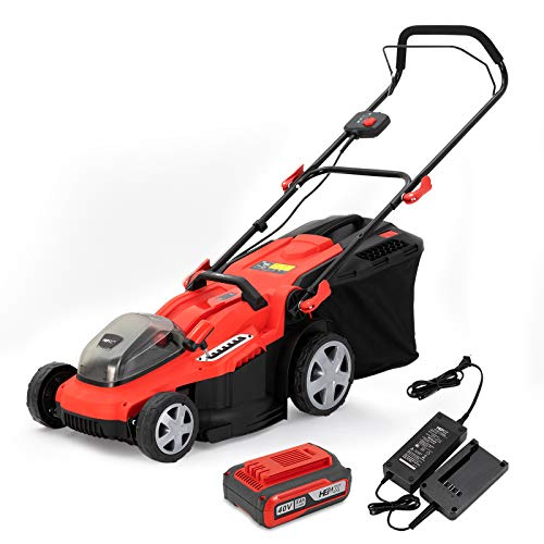 HENX 16-Inch Cordless Lawn Mower 40V Max Lithium-ion, 3-in-1 Function, 7 Deck Height, 5.0 AH Battery Included