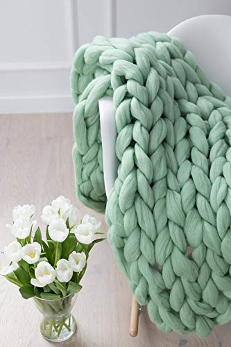 ZUIBESCHOS Chunky Knit Blanket Soft and Huge Throw(King Size Bed Throw) Light Green 80'x80'