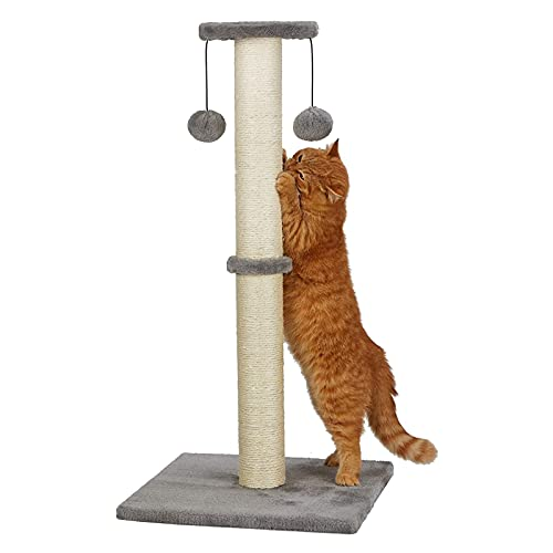 """PEEKAB 32""""Tall Cat Scratching Post Sisal Rope Scratch Posts with Soft Plush Platform Top and Interactive Ball Toys Vertical Scratcher for Indoor Cats Kitten Scratches Protector Furniture (Gray)"""