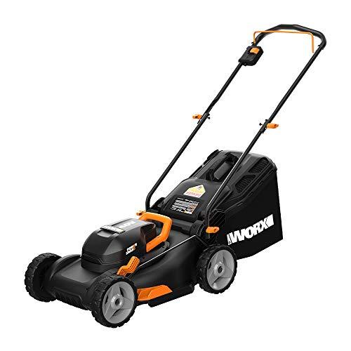 WORX WG743 40V PowerShare 4.0Ah 17 Inch Lawn Mower w/Mulching & Intellicut (2x20V Batteries),Black and Orange