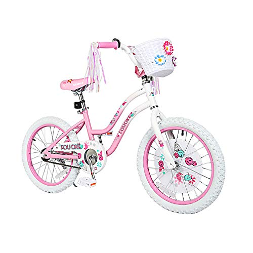 "Princess Kids Bike 12 14 16 18 Inch Boys Girls Bike with Training Wheels Kids Bicycle for Toddlers and Children (18"", Pink)"