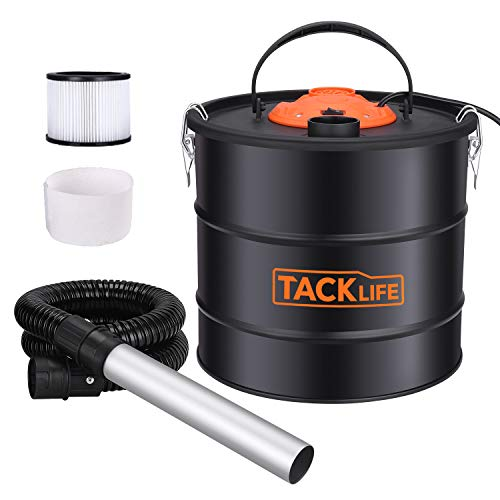 Ash Vacuum, TACKLIFE 800W Ash Vacuum Cleaner Ash VAC Canister 5 Gallon Capacity Bagless Debris/Dust/Ash Collector, Suitable for Fire, Log Burners, Pellet Stoves-PVC03A