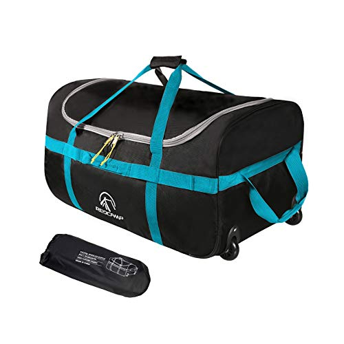 REDCAMP 85L Foldable Duffle Bag with Wheels 26', 1680D Oxford Collapsible Large Duffel Bag with Rollers for Camping Travel Gear, Black