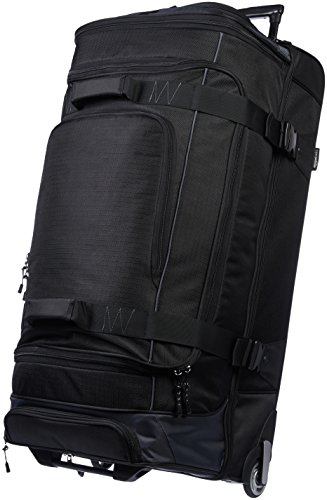 Amazon Basics Ripstop Rolling Travel Luggage Duffle Bag With Wheels - 37.5 Inch, Black