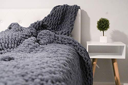 Generic Chunky Knit Blanket (70x80in), No Shed, Chunky Knit Chenille Throw Blanket for Home Décor, Large Throw Blanket, Extra Soft Chenille Blanket, Giant Cable Knit Blanket