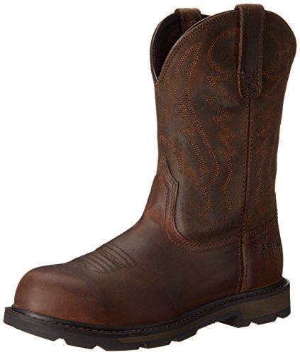 Ariat Men's Groundbreaker Pull-On Steel Toe Work Boot, Brown, 11 M US