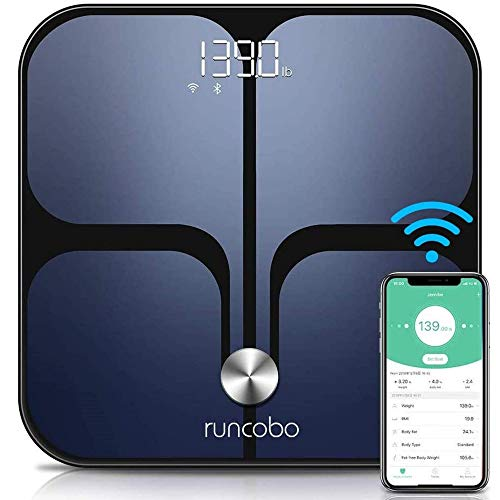 Digital Scale, Wi-Fi Bluetooth Auto, Switch Smart Scale Digital Weight, Body Fat Scale for Weight, 14 Body Composition Monitor with iOS, Android APP, Support Multiple Users, Auto-Recognition