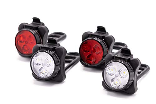 HOOOT 2 Sets USB Rechargeable LED Bike Light, 2 Super Bright Front Bicycle Headlight 2 Back Rear Taillight IPX4 Water Resistant 4 Light Mode Options; 6 straps 4 USB Cables| Get Ultimate Safety & Style