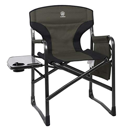 EVER ADVANCED Lightweight Folding Directors Chairs Outdoor, Aluminum Camping Chair with Side Table and Storage Pouch, Heavy Duty Supports 350LBS (Green/Black)