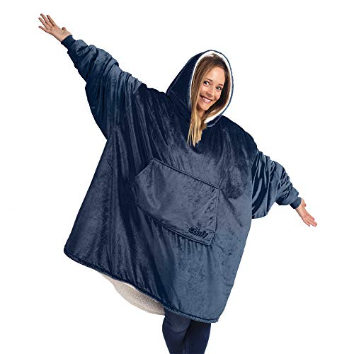 THE COMFY Original | Oversized Microfiber & Sherpa Wearable Blanket, Seen On Shark Tank, One Size Fits All Blue