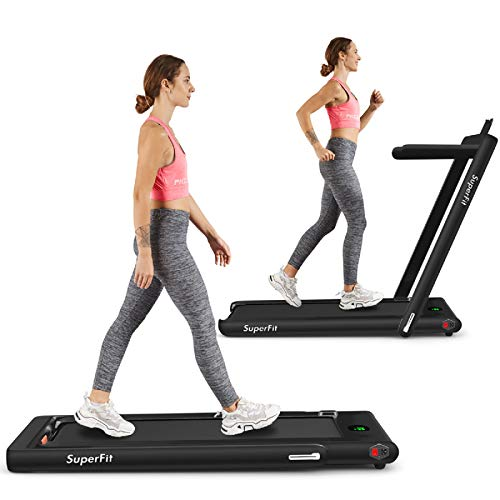 Goplus 2 in 1 Folding Treadmill, 2.25HP Under Desk Electric Treadmill, Installation-Free with Bluetooth Speaker, Remote Control and LED Display, Walking Jogging for Home Office Use (Black)