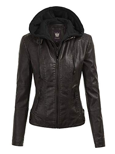Lock and Love LL WJC1044 Womens Faux Leather Quilted Motorcycle Jacket with Hoodie XXL Black