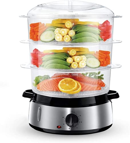 Food Steamer For Cooking, 9.5 Quart 3-Tier Stackable Baskets Electric Vegetable Steamer BPA-Free with Built-in Egg Holders and Rice Bowl, 60-Minute Timer, Silver