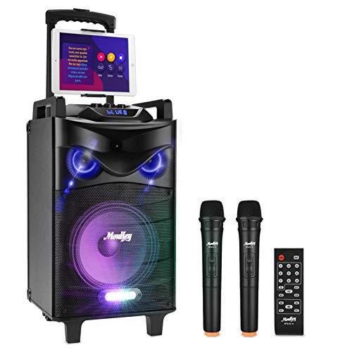 Moukey Karaoke Machine,540 Watt Peak Power Wireless Connection Karaoke Speaker System-PA Stereo with 10' Subwoofer,DJ Lights,Rechargeable Battery,2 VHF Microphone,1 Tablet Holder,Recording,MP3/USB/SD