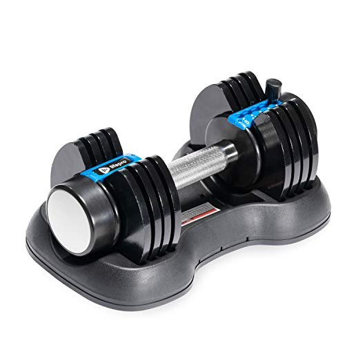 LifePro PowerFlow Plus Adjustable Dumbbell, 5-in-1 Adjustable Free Weights Plates and Rack - Hand Weights for Women and Men - Single Dumbbell with Adjustable Weights, 5lb, 10lb, 15lb, 20lb, 25lb