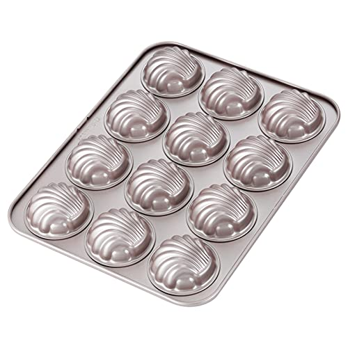 CHEFMADE Madeleine Mold Cake Pan, 12-Cavity Non-Stick Spherical Shell Madeline Bakeware for Oven Baking (Champagne Gold)