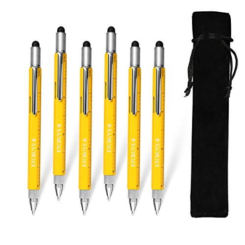 ETCBUYS Screwdriver Pen Pocket Multi-Tool 6 in 1 - Multi-Functional & Sturdy Aluminum DIY Tool with Screwdriver Stylus Bubble Level Ruler & Phillips Flathead Bit Unique Gift