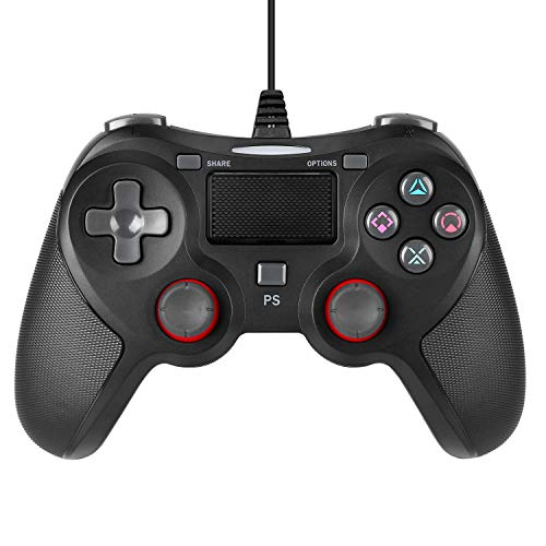 ROTTAY Wired USB Game Controller for Playstation 4, Professional Wired Gamepad Joysticks for Playstation 4 PS4 Slim PS4 Pro (Wired Black) (Black)