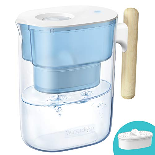 Waterdrop Chubby 10-Cup Water Filter Pitcher with 1 Filter, Long-Lasting (200 gallons), NSF Certified, 5X Times Lifetime Filtration Jug, Reduces Lead, Fluoride, Chlorine and More, BPA Free, Blue