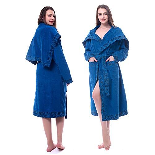 Women's Cotton Bathrobe Long| Knit Edging Shawl Cloak V-Neck| Soft Warm Thick Towel Robe for Shower Spa Hotel (Blue, M)
