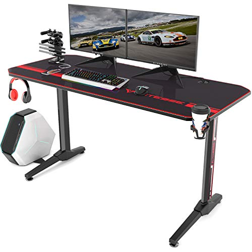 Vitesse 55 inch Gaming Desk Racing Style Computer Desk with Free Mouse pad, T-Shaped Professional Gamer Game Station with USB Gaming Handle Rack, Cup Holder & Headphone Hook (Carbon Fiber Black)