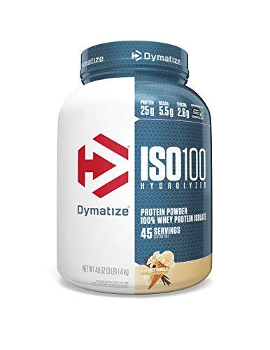 Dymatize ISO 100 Whey Protein Powder with 25g of Hydrolyzed 100% Whey Isolate, Gluten Free, Fast Digesting, Gourmet, 3 Pound, Vanilla, 3 Pound , 48 Oz