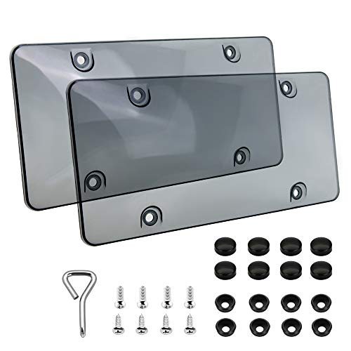 2 pcs License Plates Shields/Cover Tinted Clear Smoked Design, Unbreakable Fits All Standard 6x12 Inches Novelty/License Plates.Protect Your Front & Back License Plates. Includ Screws