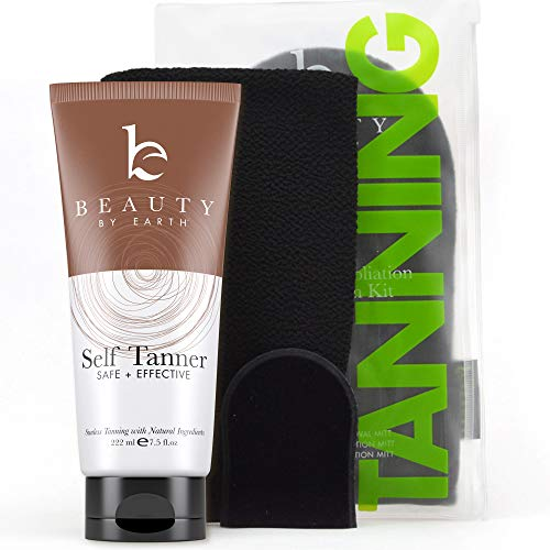 Self Tanner & Tanning Mitt Set – Tanning Lotion with Organic Aloe Vera & Shea Butter for Bronze Natural Looking Fake Tan, Mitt Set Includes Exfoliating Glove, Body Applicator and Face Applicator