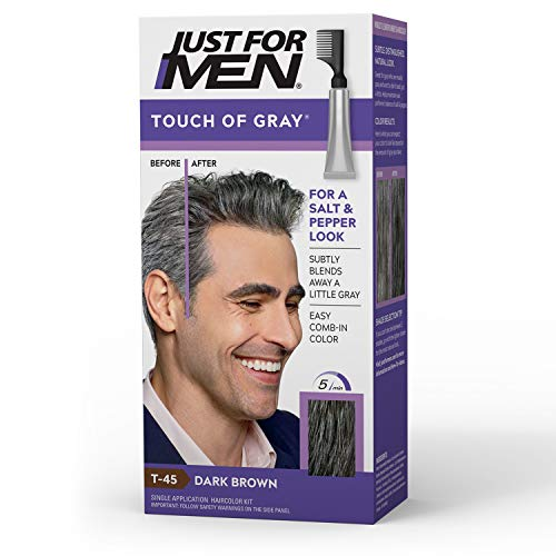 Just For Men Touch of Gray, Gray Hair Coloring for Men with Comb Applicator, Great for a Salt and Pepper Look - Dark Brown, T-45 (Packaging May Vary)
