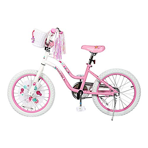 Kids Bike Princess Bike for Boys and Girls 12 14 Inch Children Bicycle with Training Wheels Basket for 2-6 Years Child (18 Inch, Pink)
