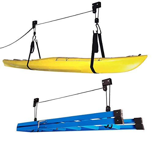 Kayak Hoist Set – Overhead Pulley System with 125 lb Capacity for Kayaks, Canoes, Bikes, or Ladder Storage by Rad Sportz (2 Pack)