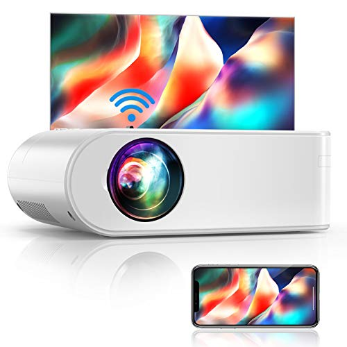YABER V2 WiFi Mini Projector 6000L [Projector Screen Included] Full HD 1080P and 200' Supported, Portable Wireless Mirroring Projector for iOS/Android/TV Stick/PS4/PC Home & Outdoor (White)