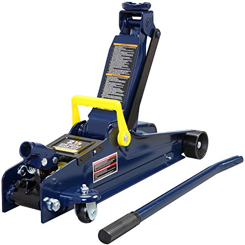 TCE TCET825051 Torin Hydraulic Low Profile Trolley Service/Floor Jack with Single Piston Quick Lift Pump, 2.5 Ton (5,000 lb) Capacity, Blue