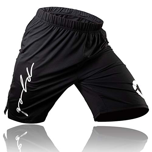 Gold BJJ Jiu Jitsu Shorts - IBJJF Approved No Gi Fight Short - for Grappling, MMA, Wrestling, Muay Thai & Boxing (XX-Large) Black