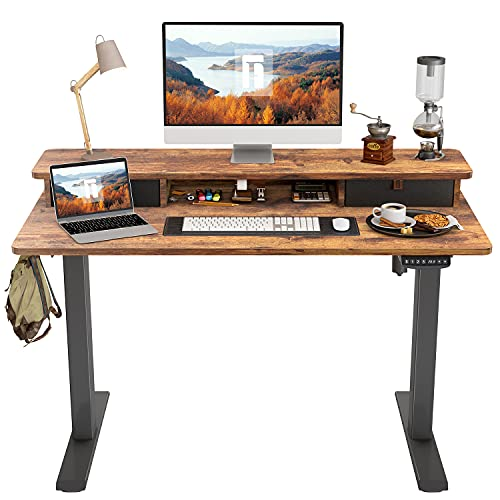 FEZIBO Height Adjustable Electric Standing Desk with Double Drawer, 48 x 24 Inch Stand Up Table with Storage Shelf, Sit Stand Desk with Splice Board, Black Frame/Rustic Brown Top