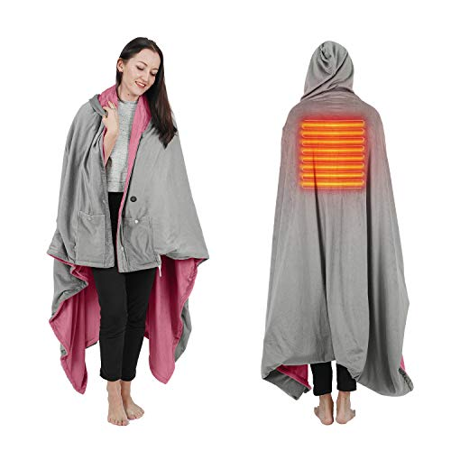 Wearable Electric Blanket, Portable Poncho Wrap, Cordless Rechargeable Heated Shawl Blanket, Super Soft & Warm Fleece, Home Office & Travel Use, Machine Washable (Large Hooded Blanket, Pink)